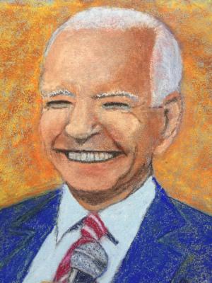"""01 - """"Joe Biden"""" by Peter Cain - Pastel - 8""""x10"""" - NFS - contact peterjogr@comcast.net"""