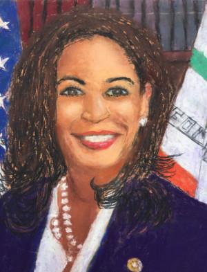 "02 - ""Kamala Harris"" by Peter Cain - Pastel - 8""x10"" - NFS - contact peterjogr@comcast.net"