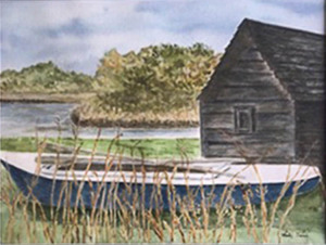 """03 - """"Blue Boat"""" by Hedy Sanni - Watercolor - 22""""x18"""" - SOLD  - contact hedysanni@yahoo.com"""
