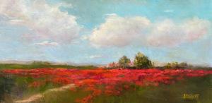 """09 - """"Ruby Fields"""" by Jeannette Corbett - Oil  - 12""""x24"""" - $2000  - contact jeannette_corbett@yahoo.com"""