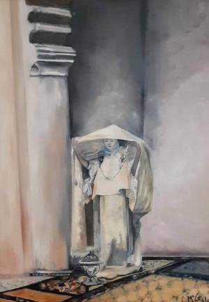 "12 - ""Woman and Incense"" by Caroline McGrane - Oil  - 18""x24"" - NFS - contact carolinemcgrane47@gmail.com"