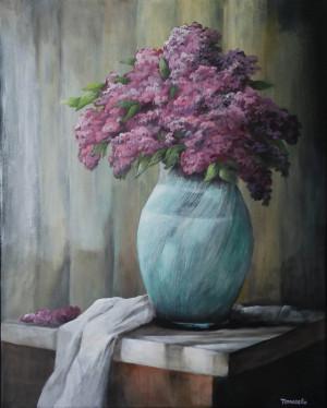 "13 - ""Lilac Still Life"" by Frank Tomasello - Acrylic - 16""x20"" - $275  - contact f_tomasello@comcast.net"
