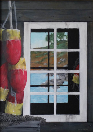 """14 - """"Lobster Shanty III"""" by Frank Tomasello - Acrylic - 14""""x19"""" - $300  - contact f_tomasello@comcast.net"""