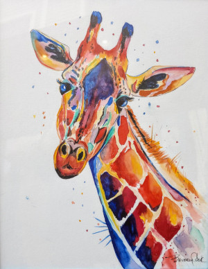 """15 - """"Giraffe in Technicolor"""" by Beverly Cook - Watercolor - 14""""x18"""" - $150 framed - contact beverlycookjp@gmail.com"""