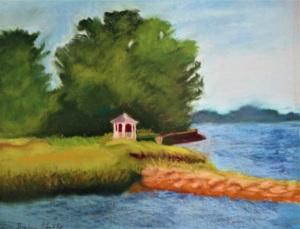 "17 - ""Gazebo at Manchester Harbor"" by Sylvia Gelb - Pastel - 16""x20"" - $150  - contact gelbhope@verizon.net"