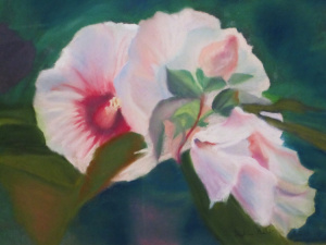 """18 - """"Hybiscus"""" by Sylvia Gelb - Pastel - 16""""x20"""" - NFS - contact gelbhope@verizon.net"""