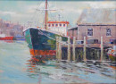 "19 - ""Dockside"" by James Ryan - Oil  - 14""x11"" - $600 framed - contact jimrartist@comcast.net"