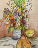 "21 - ""Violet Vase"" by Louise Pellegrino - Watercolor - 14""x16.5"" - $125 framed - contact pellx2@aol.com"