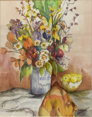 """21 - """"Violet Vase"""" by Louise Pellegrino - Watercolor - 14""""x16.5"""" - $125 framed - contact pellx2@aol.com"""