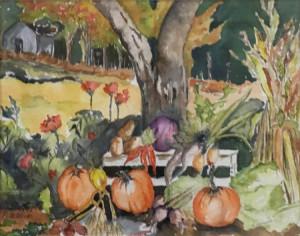 "22 - ""Autumn Bounty"" by Louise Pellegrino - Watercolor - 16.5""x13.5"" - NFS - contact pellx2@aol.com"