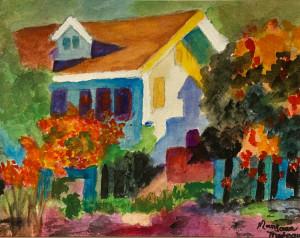 """23 - """"The Technicolor Dream House"""" by Maryann Trudeau - Watercolor - 18""""x15"""" - NFS - contact maryanntrudeau@yahoo.com"""