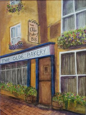 """25 - """"The Olde Bakery"""" by Debbie Reece - Watercolor - 9""""x12"""" - $50 framed - contact dlreece1@verizon.net"""