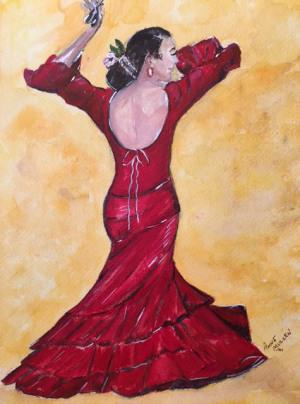 "26 - ""Flamenco Dancer"" by Anne Mullen - Watercolor - 9""x12"" - $100  - contact wfmullen@gmail.com"