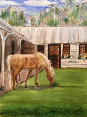 """27 - """"Plantation Palomino"""" by Anne Mullen - Watercolor - 16""""x12"""" - $150  - contact wfmullen@gmail.com"""