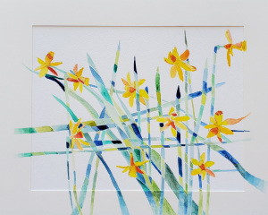 """28 - """"Daffodil Prism"""" by Beth Aaronson - Watercolor - 20""""x16"""" - $200 framed - contact bsa819@gmail.com"""