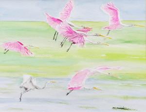 "29 - ""Spoonbills in Flight"" by Beth Aaronson - Watercolor - 20""x16"" - $200 framed - contact bsa819@gmail.com"