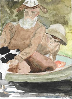 "34 - ""Homage to Homer"" by Lanae DiSilvio - Watercolor - 5""x7"" - NFS - contact lanae.disilvio@gmail.com"