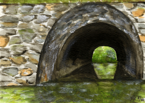 "35 - ""Kayak Tunnel #1"" by Lanae DiSilvio - Watercolor - 5""x7"" - NFS - contact lanae.disilvio@gmail.com"