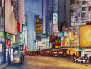 """36 - """"Urban Glow"""" by Shaila Desai - Watercolor - 10""""x8"""" - NFS - contact rdesai36@yahoo.com"""