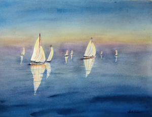 """39 - """"Just Chill'n"""" by Sheila Falco - Watercolor - 14""""x11"""" - $150  - contact sfc0224@gmail.com"""