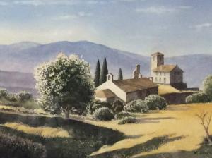 "40 - ""Tuscan Hills"" by Bill Deveney - Watercolor - 15""x11"" - $350  - contact bdeveney66@gmail.com"