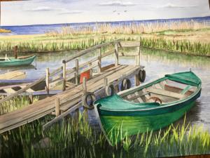 "46 - ""Peaceful Cove"" by Patricia O'Connor - Watercolor - 16""x20"" - $150  - contact ptoco@msn.com"