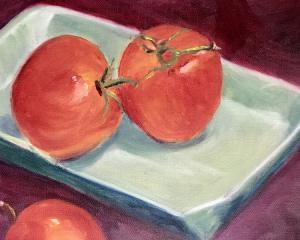 "49 - ""Three Tomatoes"" by Ruth Clark - Oil - 10""x8"" - $50  - contact racreading@aol.com"