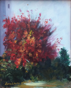 """50 - """"Red Tree"""" by Louise Conti - Oil - 8""""x10"""" - NFS - contact louise.conti@verizon.net"""