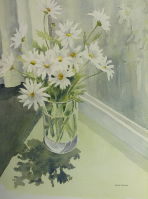 """53 - """"Daisies at the Window"""" by Louise Anderson - Watercolor - 18""""x24"""" - $250  - contact ardlochan@verizon.net"""