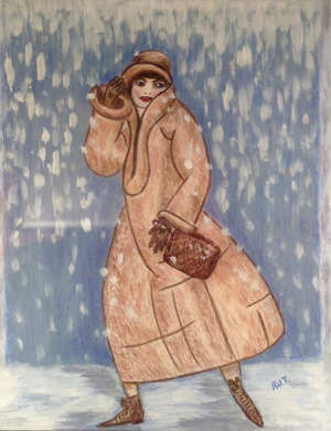 """54 - """"A Sudden Snowstorm"""" by Roberta Tortorici - Acrylic - 9""""x12"""" - $125 framed - contact rotort31@gmail.com"""