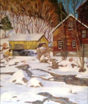 """55 - """"Winter Day in New England"""" by Roberta Tortorici - Acrylic - 11""""x14"""" - $125 framed - contact rotort31@gmail.com"""