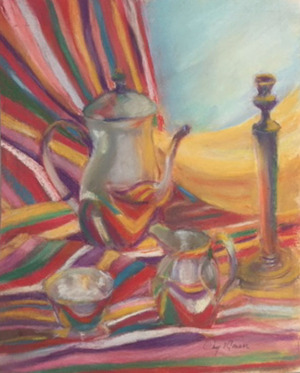 """57 - """"Tea Time"""" by Mary Connor - Pastel - 22'x24"""" - $200 framed - contact maryiconnor@verizon.net"""