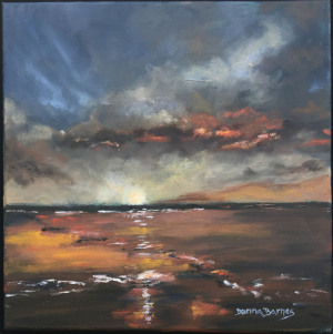 "58 - ""Horizon"" by Donna Barnes - Oil - 12""x12"" - $175 framed - contact ddtbarnes@gmail.com"