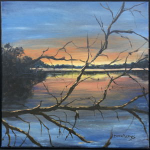 """59 - """"Atmospheric Phenomena"""" by Donna Barnes - Oil - 12""""x12"""" - $175 framed - contact ddtbarnes@gmail.com"""