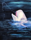 "60 - ""Beluga Whale"" by Maya Jacob - Watercolor - 11""x14"" - $400 framed - contact mayamjacob@hotmail.com"