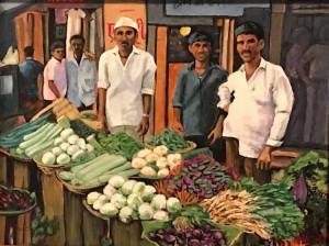"61 - ""Vegetable Market, India"" by Maya Jacob - Watercolor - 14""x11"" - $400 framed - contact mayamjacob@hotmail.com"