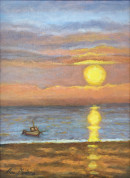 "63 - ""Ipswich Sunrise"" by Ann Medina - Oil - 9""x12"" - $295 framed - contact aemedina4@verizon.net"