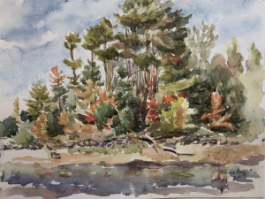 """66 - """"Reservoir"""" by Anne Rogers - Watercolor - 9""""x12"""" - $100  - contact acrogers1844@hotmail.com"""
