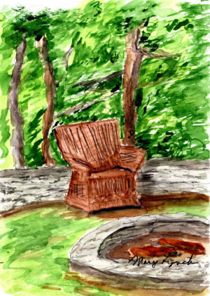 """68 - """"Lakehouse Chair"""" by Mary Lynch - Watercolor - 5""""x7"""" - $100 framed - contact lynchmaryusa@yahoo.com"""