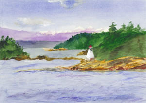 """69 - """"Pacific Lighthouse"""" by Mary Lynch - Watercolor - 10""""x14"""" - $100 framed - contact lynchmaryusa@yahoo.com"""