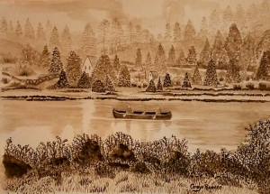 """70 - """"Canoeing on the Ipswich"""" by Carolyn Ruocco - Watercolor - 8""""x10"""" - NFS - contact ruoccocarolyn@gmail.com"""