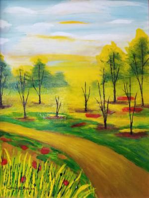 """71 - """"Fall Whimsy"""" by Carolyn Ruocco - Acrylic - 11""""x14"""" - $65 framed - contact ruoccocarolyn@gmail.com"""