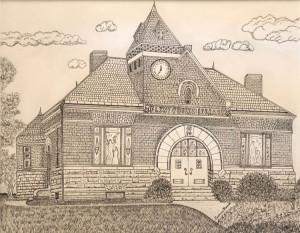"73 - ""Flint Public Library, Middleton"" by Cynthia Ruocco - Pen/Ink - 20""x16"" - NFS - contact cindiruocco@yahoo.com"