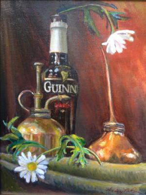 """75 - """"Petals, Metals and Glass"""" by Audrey LaRosa - Oil - 11""""x14"""" - $425  - contact audrey203jl@gmail.com"""