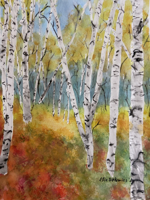 "77 - ""Autumn Bounty"" by Ellen Sinkewicz - Watercolor - 8""x10"" - NFS - contact esinkewicz@gmail.com"