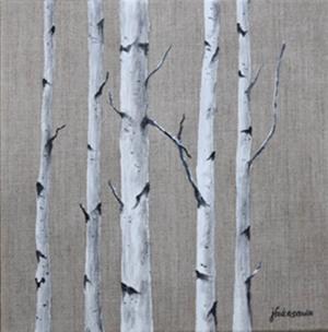 "78 - ""Birch Grove"" by Joyce Fukasawa - Acrylic - 12""x12"" - SOLD  - contact mimijyf@gmail.com"