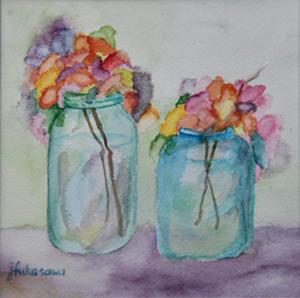 "79 - ""Cut Flowers"" by Joyce Fukasawa - Watercolor - 7""x7"" - $150  - contact mimijyf@gmail.com"