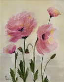 "80 - ""Pretty in Pink"" by Ann Leskiw - Watercolor - 13""x10"" - $75 framed - contact al4448@gmail.com"
