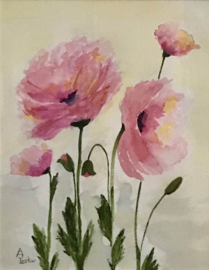 """80 - """"Pretty in Pink"""" by Ann Leskiw - Watercolor - 13""""x10"""" - $75 framed - contact al4448@gmail.com"""