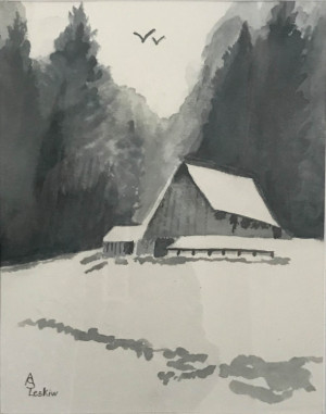 """81 - """"The Cabin"""" by Ann Leskiw - Watercolor - 10""""x13"""" - $75 framed - contact al4448@gmail.com"""